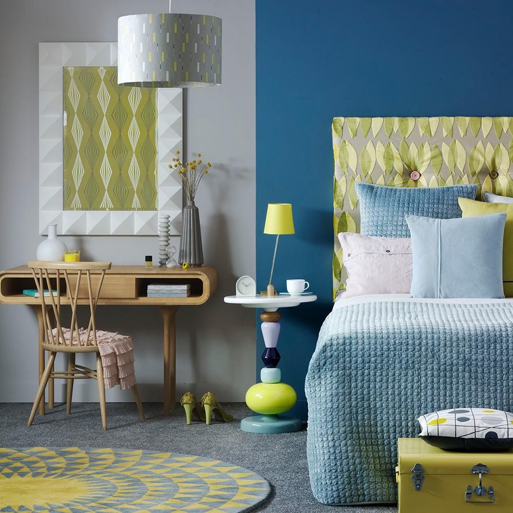 Ideale kleur combinatie voor een slaapkamer, groen met blauw