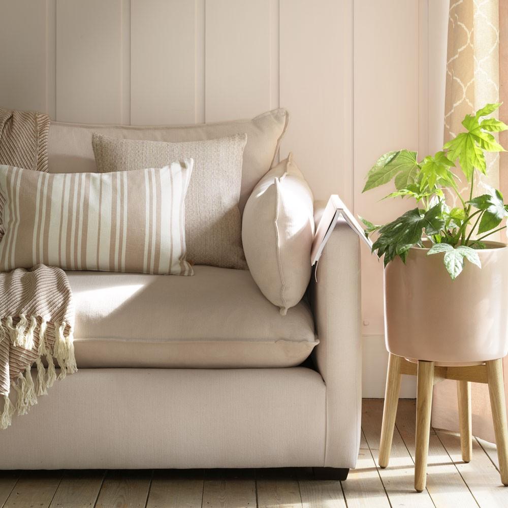 Licht beige gekleurde meubels met muur combinatie