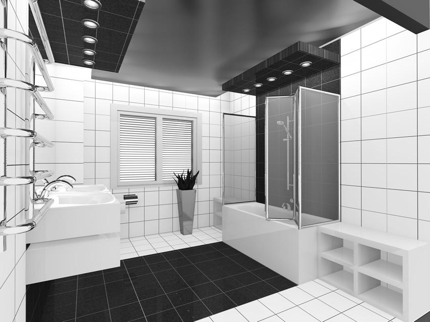 Monotoon zwart-wit badkamer idee