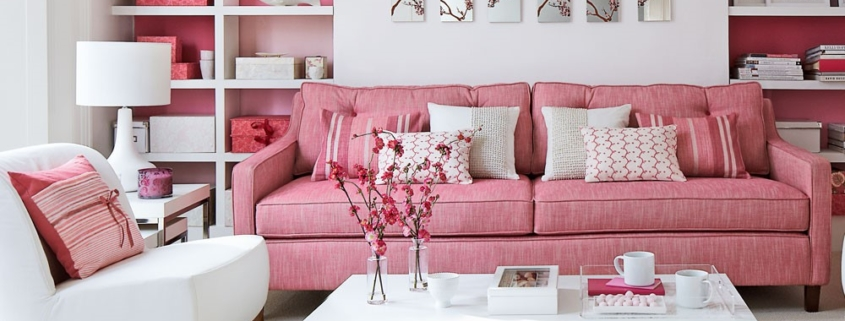 Warm roze voor in de woonkamer, altijd perfect te combineren met wit